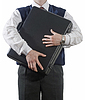 Businessman clasping case to breast | Stock Foto