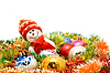 Christmas comes - Funny snowman and decoration baubles | Stock Foto