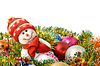 Christmas comes - Funny white snowman and decoration | Stock Foto