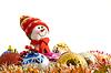 Christmas greetings - Funny white snowman | Stock Foto