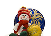 Cute Cuddly Christmas toy with colorful New Year Balls | Stock Foto