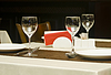 In restaurant - wineglasses and table appointments | Stock Foto