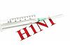 Photo 300 DPI: Swine FLU H1N1 - syringe and red alert