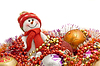 Xmas is here - Funny white snowman and decoration balls | Stock Foto