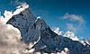 Mountain peaks and clouds in Himalayas | Stock Foto