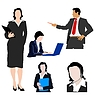 Vector clipart: Set of colored silhouettes of business people