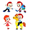 Vector clipart: set of playing funny children