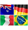 Vector clipart: set of waving flags of different countries