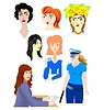 Vector clipart: the set of interesting female characters