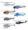 Vector clipart: set of colored flying helicopters