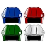 Vector clipart: set of four colored hockey helmets