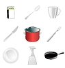 Vector clipart: set of kitchen related objects