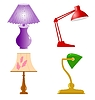 Vector clipart: set of desk and decorative lamps