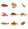 Vector clipart: set of fishes and meat
