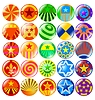 Vector clipart: set of colored textured buttons