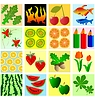 Vector clipart: set of different colored textures