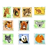 Vector clipart: set of stamps of animals