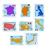 Vector clipart: set of stamps with different countries
