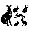 Vector clipart: set of silhouettes of hare