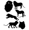 Vector clipart: set of silhouettes of lion