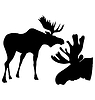 Vector clipart: set of silhouettes of moose