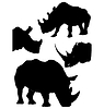 Vector clipart: set of rhinoceros silhouettes