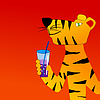 Vector clipart: Tiger drinks cocktail