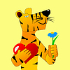 Vector clipart: Tiger in love