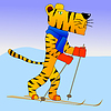 Vector clipart: Tiger on ski