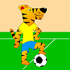 Vector clipart: Tiger plays football