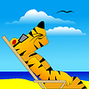 Vector clipart: Tiger under sun