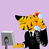 Vector clipart: Tiger is businessman
