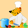 Vector clipart: Tiger is cook