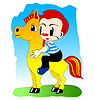 Vector clipart: Boy on pony