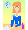 Vector clipart: Morning coffee on working place
