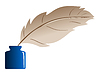 Vector clipart: Feather and ink bottle