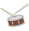 Vector clipart: A drum with drumsticks