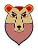 Cartoon head of bear