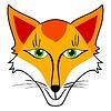 Vector clipart: Cartoon head of sly fox