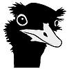 Vector clipart: silhouette of nandu