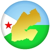 Vector clipart: flag button in colours of Djibouti