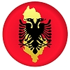 Vector clipart: flag button in colours of Albania