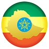 Vector clipart: flag button in colours of Ethiopia
