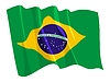 Vector clipart: waving flag of Brazil