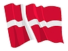 waving flag of Denmark