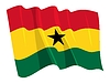 Vector clipart: waving flag of Ghana