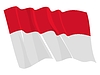 Vector clipart: waving flag of Indonesia