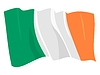 Vector clipart: waving flag of Ireland Republic