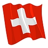 Vector clipart: waving flag of Switzerland