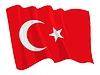 Vector clipart: waving flag of Turkey